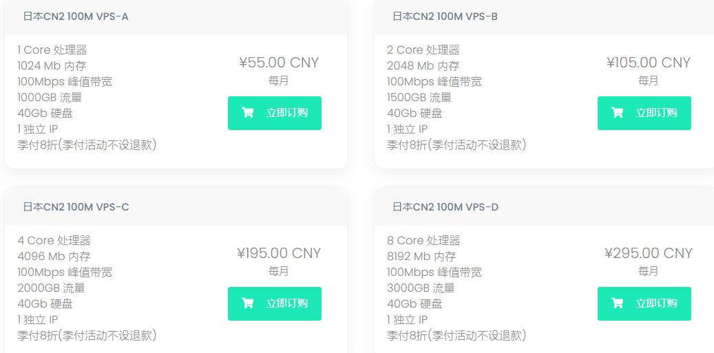 【日本CN2】HaloCloud:日本vps,CN2线路/1G内存/40G硬盘/100Mbps/1T流量月付55元季付8折