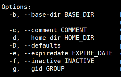 useradd -M -s 参数含义